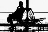 FRANKFURT GERMANY Airport Silhouette of traveler.