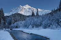 Mount Shuksan seen from the Noocksack River valley in winter, North Cascades Washington.