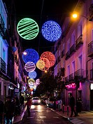 Christmas lights. Hortaleza Street. Madrid, Spain