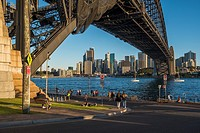 Sunny Sunday afternoon below Sydney Harbour Bridge.