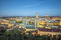 Burgos cathedral seen from the castle lookout point. Burgos. Castile and Leon. Spain.