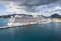 Philipsburg, Sint Maarten. Norwegian Breakaway Cruise Liner alongside Pier.