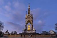 UK, england, London, Albert Memorial dusk.