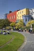 Sunny day in the gardens below Dublin Castle, Dublin, Eire, Republic of Ireland.