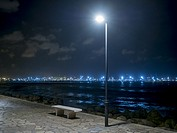 Pinedo beach by night, Valencia, Spain