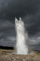 A sequence of the eruption of Strokkur, one of IcelandÂ's most famous geysers, located in the geothermal area beside the Hvita River, in southwest Ice...