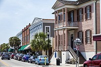 South Carolina, Beaufort, Historic Downtown, Bay Street, business district, businesses, stores, shops, Verdier House, museum, Federal mansion, 1804, e...