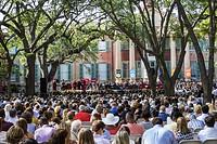 South Carolina, SC, Charleston, College of Charleston, university, Cistern Yard, graduation, ceremony, commencement, student, crowd, audience, cap gow...