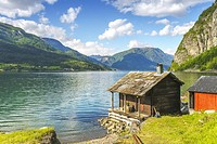 Wooden hut at the Lustrafjorden, Norway, Scandinavia.