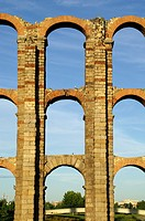 Mérida (Spain). Archery of the Aqueduct of the Milagros in the city of Mérida.