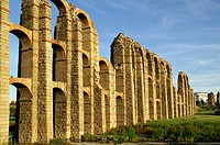 Mérida (Spain). Arches of the aqueduct of the Milagros in the city of Mérida.