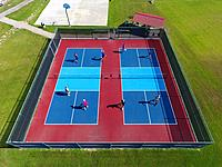 Aerial view of pickleball courts.