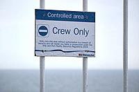warning sign for crew only controlled area on board stena line ferry ship at sea.