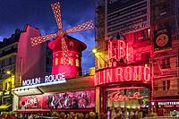Moulin Rouge at night,Paris France.