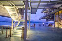 Botin Center, by Renzo Piano, night view. Santander, Spain.