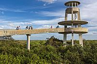 Everglades National Park, Florida. Tourists at the Shark Valley Viewing Tower.
