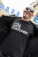 Man wearing Still Hate Thatcher t-shirt, Not One Day More - Tories Out National Demonstration, an Anti-Government and Teresa May protest organised by ...