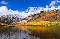 Fall color and early snow at North Lake, Inyo National Forest, Sierra Nevada Mountains, California USA.