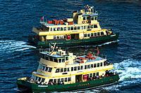 Two Sydney Ferries in the Harbour. Sydney, NSW, Australia.