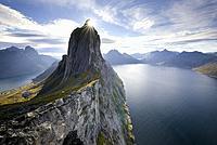 Norway, Troms County, north of the Arctic Circle, Senja island between Tromso and the Lofoten islands, Fjordgard village, peak of Segla (639m) and the...