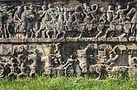 Detail, Terrace of the Elephants, Angkor Thom, Angkor Archaeological Park, Siem Reap, Cambodia.