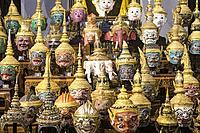 Display of thai Khon Masks, Exhibition Throne Hal,l National Museum, Bangkok, Thailand.