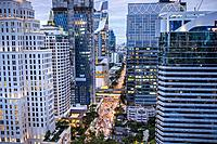 Skyline and Wireless Road at night, downtown, Bangkok, Thailand.