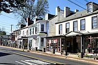 New Hope, PA, Bucks County, USA. Looking at Retail Shops and Restaurant in Old Buildings on Bridge Street.