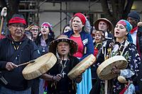 Seattle, Washington: Tribe members drum at the Indigenous Peoples' Day March and Celebration at Westlake Park. Seattle has celebrated Indigenous Peopl...