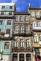 Houses on Rua de Mouzinho da Silveira in Porto city on Iberian Peninsula, second largest city in Portugal.