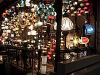 Night display of lamps and lighting at a shop, Sultanahmet, Istanbul, Turkey.