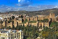 Panoramic view with Alcazaba, Malaga, Region of Andalusia, Spain, Europe.