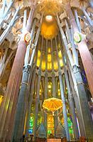Sagrada Família by Antoni Gaudí, interior detail, in Barcelona. Catalonia, Spain.