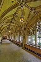 Yale University Cloister Hallway - Interior view of the Collegiate Gothic architecture style cloister hallway located within the Sterling Memorial Lib...