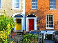 Colorful british doors in a residential Area in the surrounding of St Stephen's Green, public park in Dublin in the city centre, Ireland, Europe.