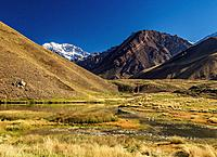 Aconcagua Mountain and Horcones Lagoon, Aconcagua Provincial Park, Central Andes, Mendoza Province, Argentina.