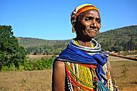 Woman belonging to the Bonda tribe ( Odisha state, India).