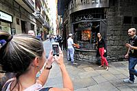Los Caracoles (also called Casa Bofarull) is one of the emblematic restaurants of Barcelona (Calle Escudellers no. 14) opened in 1835. Catalonia, Spai...