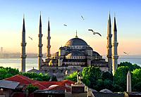 View on Blue Mosque and Sea of Marmara in Istanbul at sunrise, Turkey.