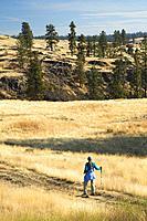 Trail through ponderosa pine grassland, Fishtrap Recreation Area, Spokane County, Washington.