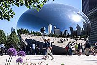 The Bean Cloud Gate sculpture downtown Chicago USA.