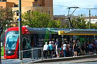 Trams at Victoria Square, Adelaide, South Australia.