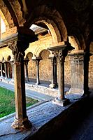Cloister of the collegiate church of San Orso of the 11th century in Aosta. Italy.
