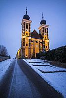 Austria, Styria, Frauenberg, Wallfahrtskirche Frauenberg church, dawn.