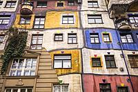 Austria, Vienna, Hundertwasserhaus, public housing designed by architect Friedenreich Hundertwasser, exterior.