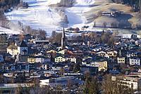 Austria, Tyrol, Kitzbuhel, elevated town view, morning.