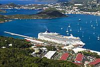 U. S. Virgin Islands, St. Thomas, Charlotte Amalie, Havensight Cruiseship Port from Paradise Point.