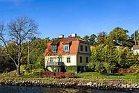 Djurgarden island viewed from the water, Stockholm, Sweden.