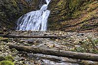 Logs lay across the stream at upper Sweetcreek Falls near Metaline, Washington.