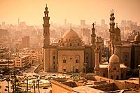 Minarets of Sultan Hassan mosque and el rifaie mosque. cairo. at sunset, view from citadel